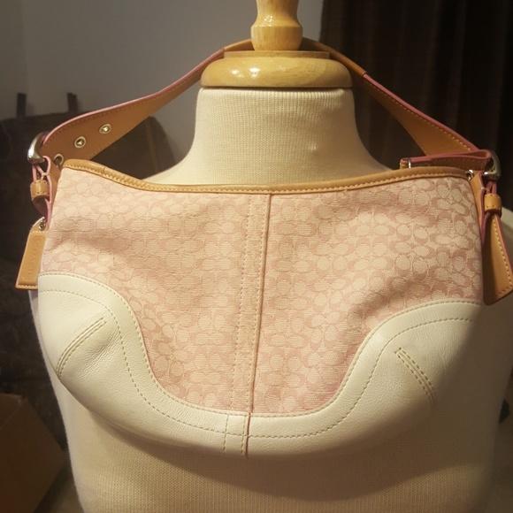 a2e44a0f755f Coach Handbags - Coach light pink and white purse